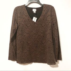 Chico's | NWT Brown Lace Dress Shirt